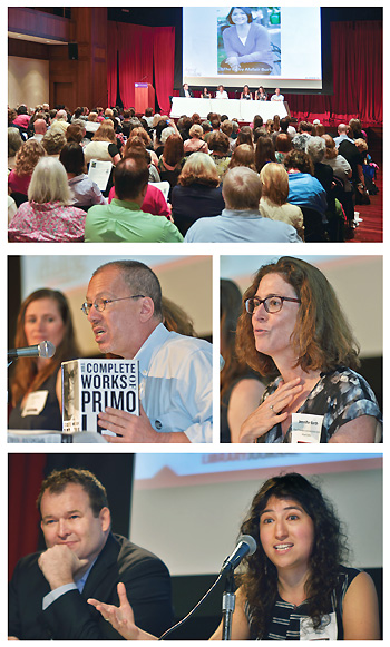 LEADIN HERE caption text here describing this block on the Editors' Picks panel. At top, the whole group onstage with Barbara in front of a packed house; second row left photo shows Denise Roy (l.) and Name Here; right photo shows Jennifer Barth; bottom row shows Name Here (l.) and Diana Miller. Photos ©2015 William Neumann