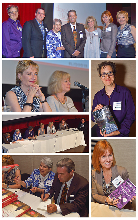 THE THRILL IS ON caption text here describing this block. At top, the whole group: Jennifer McMahon, moderator Jeff Ayers, , Name Here, Charles Todd, Kathy Reichs, Lori Roy, and Kate White. two more panel shos, and shots of four of the authors when they were signing their thriller titles. Photos ©2015 William Neumann