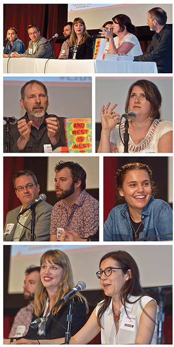 Caption here for these images. top is shot of the whole panel onstage, next row is man on left, woman on right, third row shows two guys and Paige McKenzie, and bottom photo shows Sloane Crosley making  a statement as moderator Stephanie Klose looks on. Photos ©2015 William Neumann