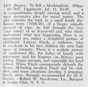 library journal s review of to kill a mockingbird