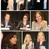 Clockwise from top: Amy Einhorn, Sarah McGrath, Alane Salierno Mason, moderator Stephanie Anderson, Lara  Heimert, and Tim Duggan (l. to r.); Mason enthuses about her books; McGrath listens as Heimert discusses her nonfiction titles (l. to r.); Barbara Hoffert opens both the day's events and the Editors' Picks panel; Einhorn talks about the Amy Einhorn Books Perpetual Challenge; and Duggan tells Anderson about the international slant  to his titles (l. to r.).  Photos ©2016 William Neumann