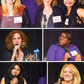 Clockwise from top: Mary Carter/Carlene O'Connor, moderator Robin Bradford, Susan Elizabeth Phillips, Jill Shalvis, Sonali Dev, and Gayle Forman (clockwise from far left); moderator Robin Bradford makes a point; Carter discusses sometimes using the pseudonym O'Connor; Carter, Shalvis, and Phillips enjoy another panelist's quips; Dev on fans liking characters that look like them; and Forman on her first adult book.  Photos ©2016 William Neumann