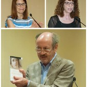 Caption going here about these photos; showing Feldman on the top left, Donna Seaman from Booklist, and then Billy Collins, the keynoter, shown here holding up a book (his?) that I believe he read from. Photos by Johhny Coooker