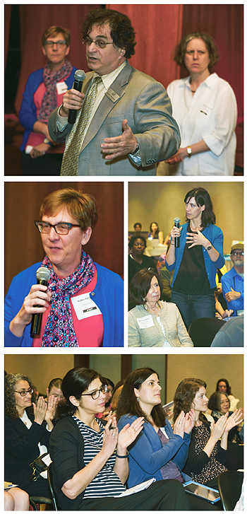 Caption here on images from the Town Hall meeting. At top, Nesbitt and Hoffert listen as Robert Hubsher from Ramapo Catskill Library System makes a point. Next, close view of Nesbitt, who stepped in last minute to lead the meeting. Other shots show crowd involvement and approval. Photos ©2015 William Neumann