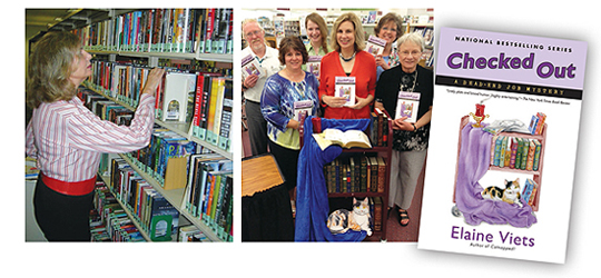 From bookshelves to book carts: (l.) volunteer Viets returns items to their proper place at the Galt Ocean Mile Reading Center, Fort Lauderdale, FL; (r.) the author (in red) joins Windsor Branch P.L. staff in Barnhart, MO, with the library cart pimped out like the cover of Checked Out
