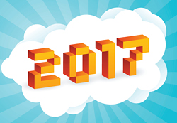 New Year poster. 2017 Vibrant 3D Pixel Letters.